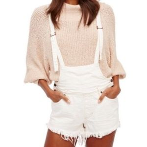 Free People Cutoff White Jean Overalls  size 31 N